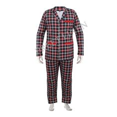 Patient Cotton Gown with Lower Black & Red Check Print
