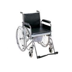 Wheel Chair Folding Commode (Detachable Armrest & Footrest) (Imported)