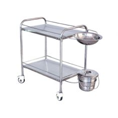 "Dressing Trolley (S.S.) with Bowl & Bucket (30"" x 18"" x 32"")"
