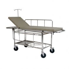 Stretcher trolley (2 section) with fixed Mattress and safety belts (3 Pcs)- Stainless steel