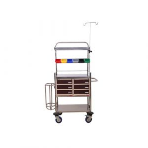Amerey Crash Cart Powder Coated with Stainless Steel Shelves