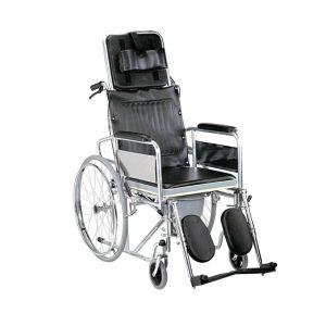 Wheel Chair Folding Commode (Detachable Armrest & Footrest)