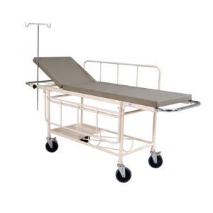 Stretcher trolley (2 section) with fixed Mattress and safety belts (3 Pcs)- Epoxy Powder Coated